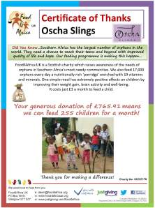 Thank you Certificate - Oscha Slings