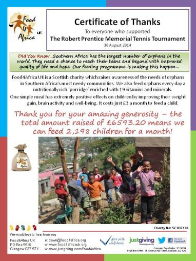 F4A Thank you! The Robert Prentice Memorial Tennis Tournament
